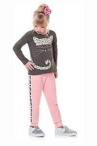 Calça infantil moletom com faixa lateral