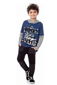 Camiseta infantil manga longa com capuz