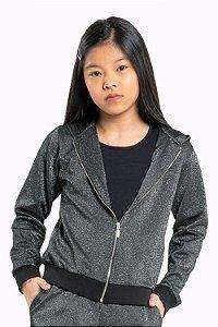 Jaqueta juvenil manga longa com capuz e fios metalizados