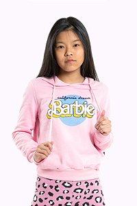 Blusa juvenil manga longa com capuz barbie