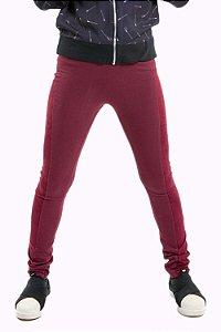 Calça juvenil legging com recorte em suede