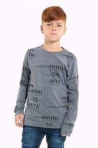 Camiseta juvenil manga longa com estampa
