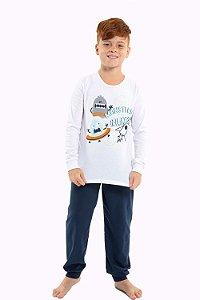 Pijama juvenil manga longa com calça
