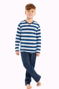 Pijama juvenil manga longa em algodão