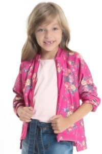 Jaqueta infantil manga longa floral em boucle