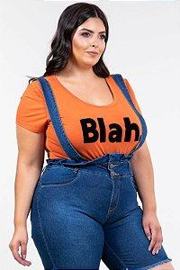 Blusa mullet plus size estampa flocada