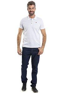 Camiseta manga curta gola polo com 3 botões estampa em poá
