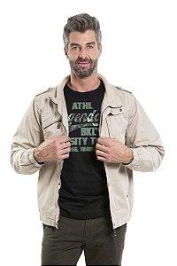 Jaqueta com forro fleece com zíper e bolsos em sarja
