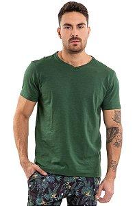 Camiseta manga curta flamê gola em v básica