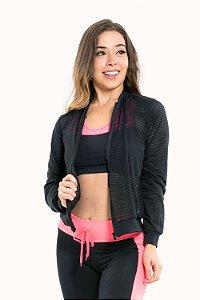 Jaqueta fitness manga longa com zíper