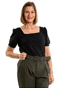 Blusa manga curta decote quadrado