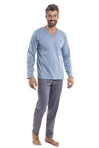 Pijama manga longa gola v em malha