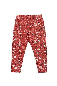 Calça (culote) com pé reversível estampado com detalhe bordado em suedine