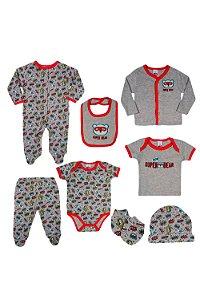 Conjunto kit 8 peças macacão body culote casaco camiseta babador touca e luva estampa super bear em suedine
