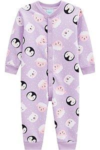 Pijama infantil longo peluciado  pinguim