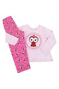 Pijama infantil manga longa estampa coruja brilha no escuro