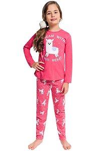 Pijama juvenil manga longa estampa brilha no escuro