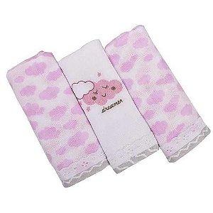 Kit toalha fralda 3 peças com detalhe em lese