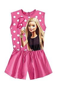 Macacão curto infantil barbie