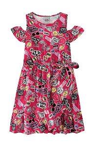 Vestido manga curta infantil lol