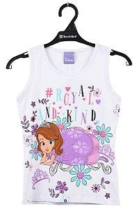 Blusa infantil sem manga estampa princesa sofia