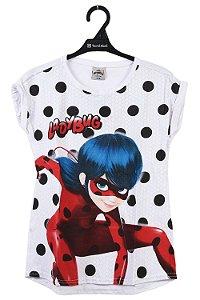 Blusa juvenil manga curta ladybug