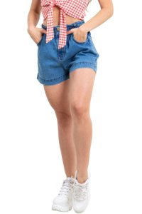 Shorts jeans hot pants com elástico