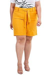 Shorts clochard liso com bolso plus size
