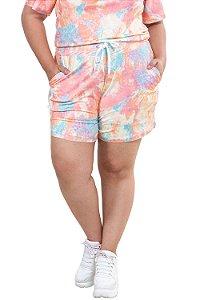 Shorts tie dye com bolso plus size
