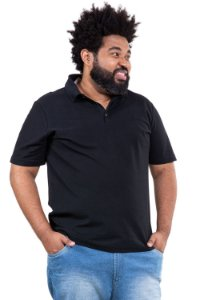 Camisa polo maga curta piquet plus size