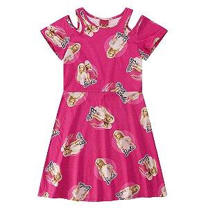 Vestido infantil ombro vazado barbie