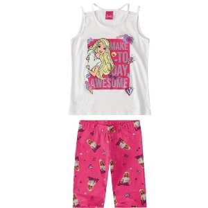 Conjunto infantil blusa/bermudaBarbie