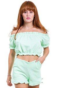 Blusa cropped jacquard vichy ombro a ombro