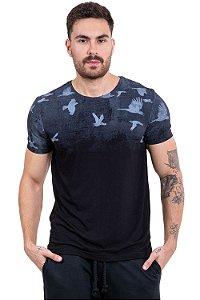 Camiseta manga curta recorte a laser estampa pássaro