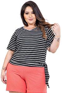 Blusa manga curta com amarração plus size