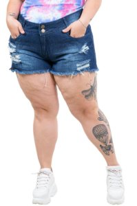 Shorts  jeans destroyed barra desfiada plus size