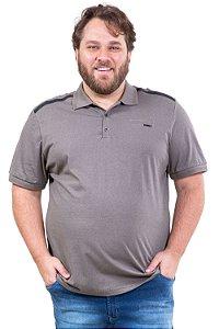 Camisa polo manga curta 3 botões bolso falso plus size