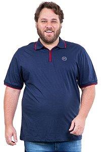 Camisa manga curta gola polo com zíper plus size
