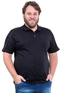 Camisa polo manga curta recorte tela 3 botões plus size
