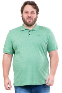 Camisa polo manga curta mescla 3 botões plus size