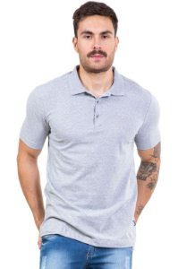 Camisa polo manga curta 3 botões