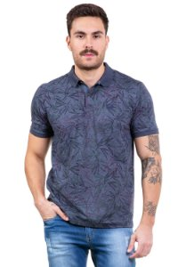 Camisa polo com botoes estampada