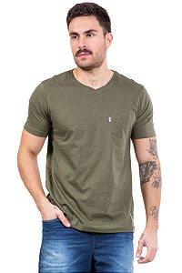 Camiseta manga curta com bolso em malha botonê