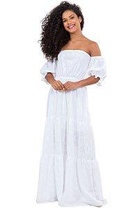 Vestido ombro a ombro longo detalhe em bordado