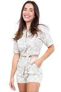 Camisa manga curta cropped amarração em linho