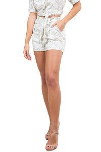 Shorts curto estampado em linho