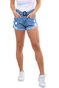 Shorts jeans curto destroyd c/ cinto