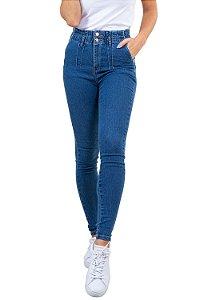 Calça jeans Skinny cós c/elástico