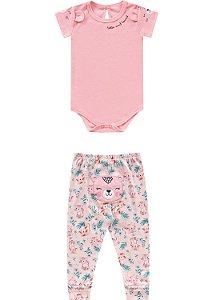 Conjunto body manga curta e calça
