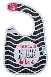 Babador atoalhado hoje é dia de rock bebê